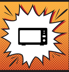 microwave sign comics style vector image