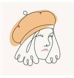 modern abstract facegirl in beret in a h vector image