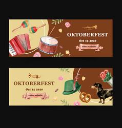 Musical tyrolean hat and pretzel banner design vector