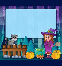 Mysterious forest halloween frame 6 vector