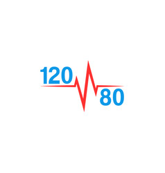 normal blood pressure 120 to 80 logo and pulse vector image