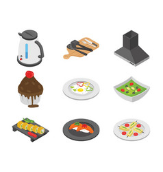 pack of cooking flat icons vector image