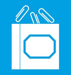 paper clips box icon white vector image