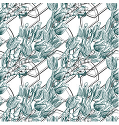 pattern plant engrave ink tulips geometry willow vector image