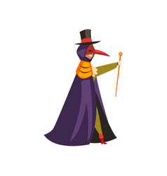 Plague doctor costume man at carnival halloween vector