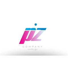 pz p z alphabet letter combination pink blue bold vector image