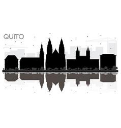 Quito ecuador city skyline black and white vector