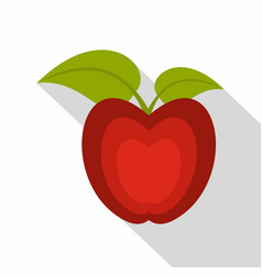 red apple with green leaves icon flat style vector image