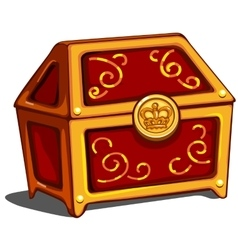 Red closed treasure chest with royal golden seal vector image