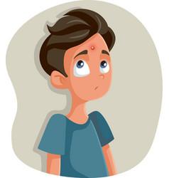 Sad teenage boy having vector