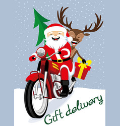 santa claus and reindeer on a red motorcycle vector image
