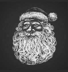 Santa face chalk drawing vector