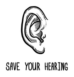 save your hearing day concept background hand vector image