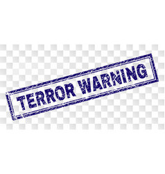Scratched terror warning rectangle stamp vector