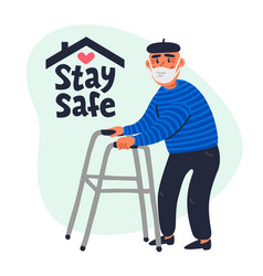 Senior patient protection stay safe concept vector