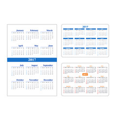 set calendar on 2017 year vector image