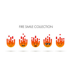 set fire emoticons icon pack emoji isolated vector image