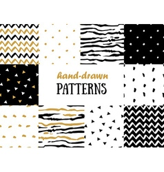 Set of abstract seamless patterns in gold white vector image