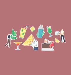 Set stickers people drink cold drinks bartenders vector