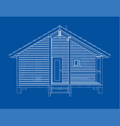 sketch of small house rendering of 3d vector image