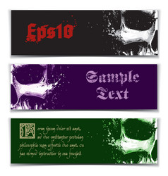 Skull artistic splatter banners black purple green vector