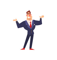 smiling self confident businessman character vector image