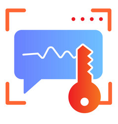 Sound recognition and key flat icon voice vector