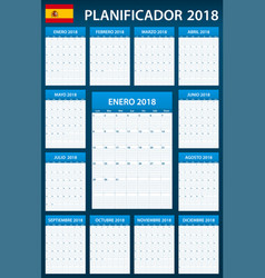 Spanish planner blank for 2018 scheduler agenda vector