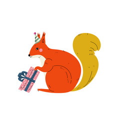 Squirrel wearing party hat with gift box cute vector