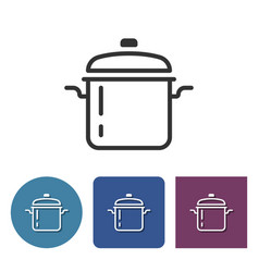Stew pan line icon in different variants vector