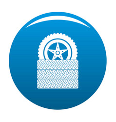 Tire leap icon blue vector