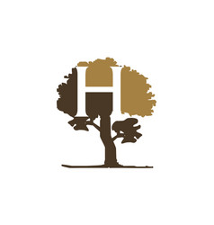 tree letter h vector image
