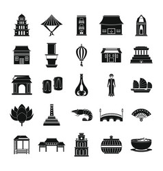 Vietnam travel tourism icons set simple style vector