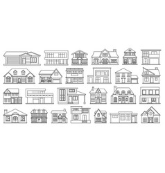Villa house outlineline set icon vector