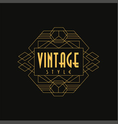 vintage style logo art deco design element in vector image