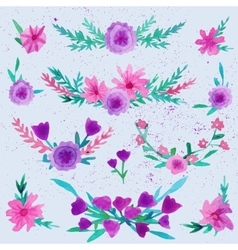 Watercolor flower laurel wreath set with butterfly vector image