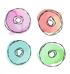Watercolour donats street fast food realistic vector