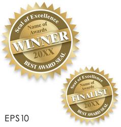 Winner and finalist certificate award seals eps10 vector