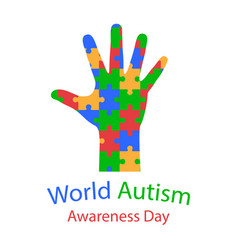 World autism day hand with puzzles vector