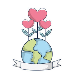 World with flowers vector