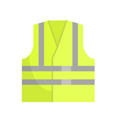 Yellow reflective safety vest front view vector