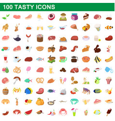 100 tasty icons set cartoon style vector image vector image