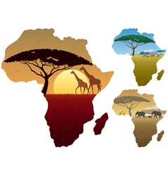Africa Map Landscapes vector image vector image