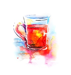 Background with painted watercolor tea in glass vector image vector image