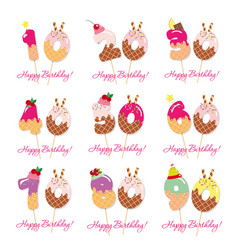 birthday anniversary set festive sweet numbers vector image vector image