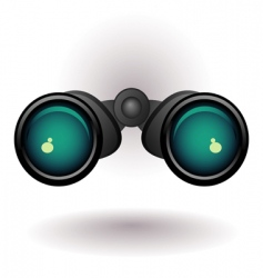Black binoculars on white background vector
