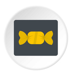 candy in yellow wrap icon circle vector image