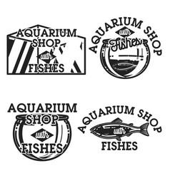 color vintage aquarium shop emblems vector image