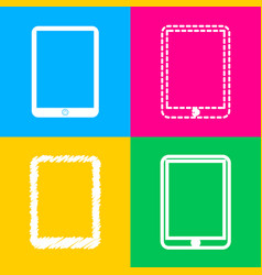 computer tablet sign four styles of icon on four vector image