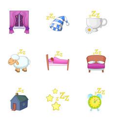 Deep sleep icons set cartoon style vector